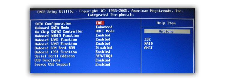 смена режима работы контроллера жесткого диска с SATA на IDE