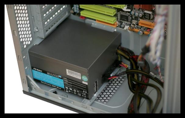 Установка блока питания на компьютер