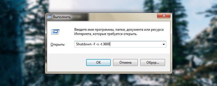 shutdown –s –f –t 3600