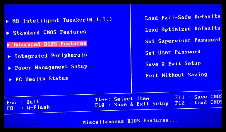 Как восстановить систему через BIOS